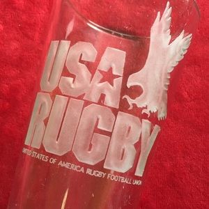 VINTAGE USA RUGBY BEER GLASS | etched with eagle